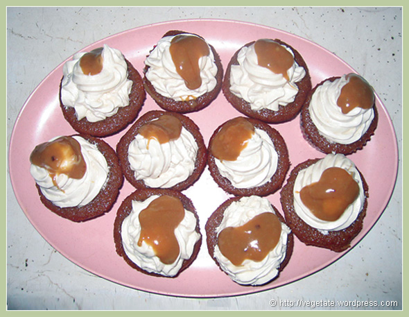 Apple Cider Cupcakes w/Vanilla Buttercream Frosting & Caramel Sauce - from Vegetate, Vegan Cooking and Food Blog