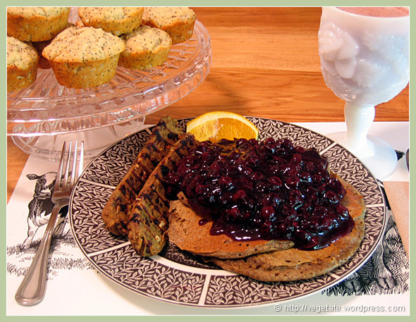 Buckwheat Pancakes Blueberry Sauce, Homemade Vegan Cherry Sage Sausage & Lemon Poppy Muffins - From Vegetate, Vegan Cooking & Food Blog