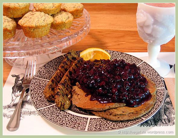 Buckwheat Pancakes Blueberry Sauce, Homemade Vegan Cherry Sage Sausage & Lemon Poppy Muffins - From Vegetate, Vegan Cooking & Food Blog