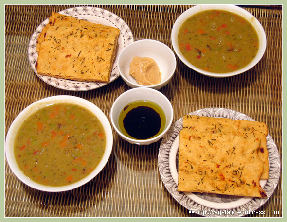 Foccaccia w/Roasted Garlic, Aged Balsamic, Olive Oil, & Split Pea Soup - From vegetate, Vegan Cooking & Food Blog
