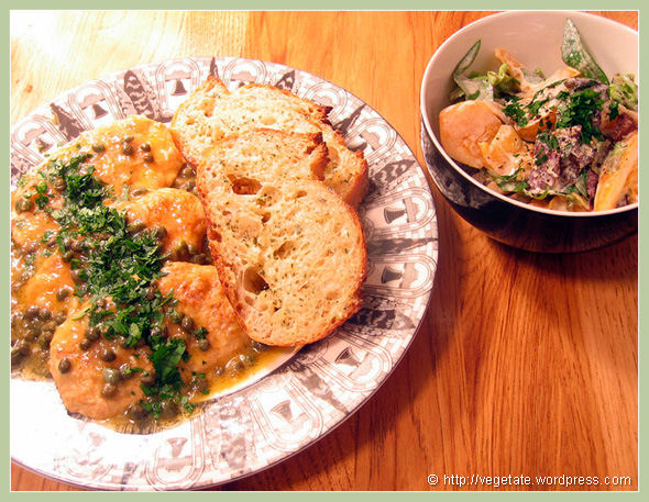 """Gardein """"Chicken"""" Piccada & Heirloom Tomato Salad - From Vegetate, Vegan Cooking & Food Blog"""