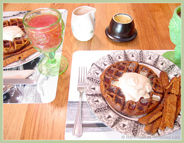 Gingerbread Molasses Waffles w/Whipped Cream & Fakin' Bakin - From Vegetate, Vegan Cooking & Food Blog