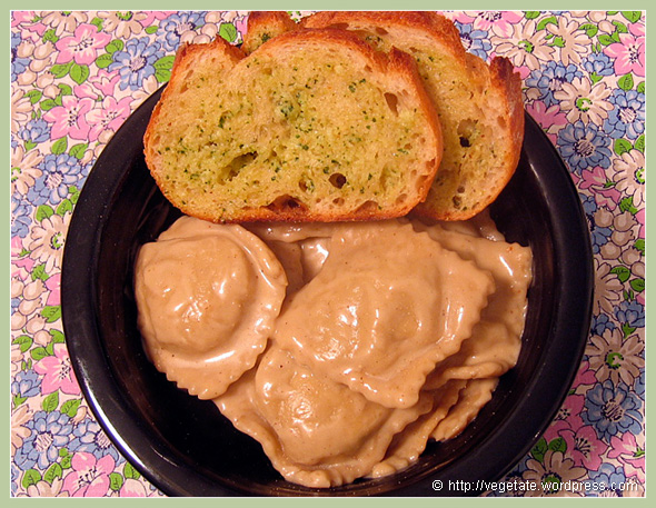 Homemade Porcini Mushroom Ravioli w/Alfredo Sauce - from Vegetate, Vegan Cooking & Food Blog
