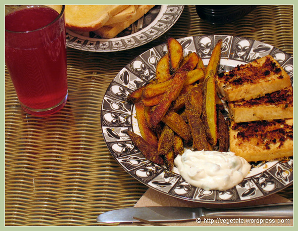 Horseradish & Coriander Crusted Tofu w/Popcorn Fries & Tartar Sauce - from Vegetate, Vegan Cooking and Food Blog