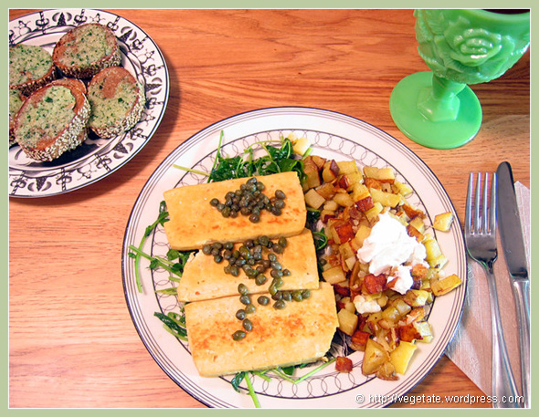 Pan-fried Tofu & Watercress w/Lemon Caper Sauce & Roasted Potatoes - from Vegetate, Vegan Cooking and Food Blog