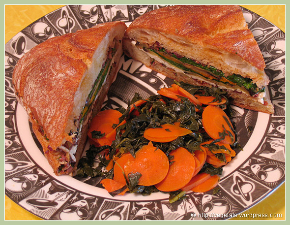 Roasted Eggplant Mouffaletta Sandwiches w/Balsamic-glazed Carrots & Kale - from Vegetate, Vegan Cooking and Food Blog