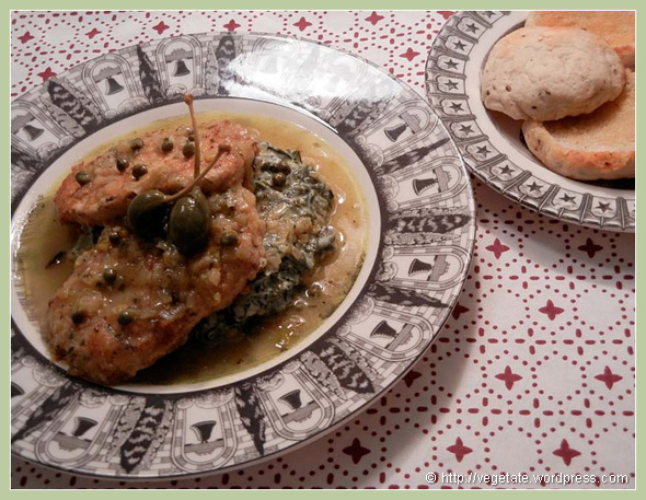 Seitan Piccata Atop Potato Cakes & Creamed Spinach - from Vegetate, Vegan Cooking and Food Blog
