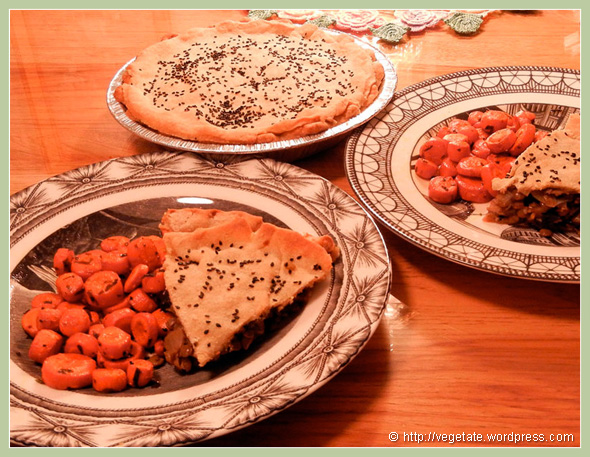 Shiitake & Lentil Pie w/Tarragon Roasted Carrots - from Vegetate, Vegan Cooking and Food Blog