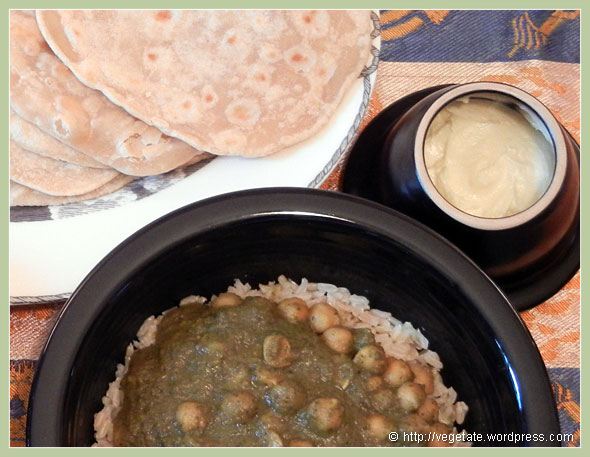Chana Saag & Spelt Chapatis ~ From Vegetate, Vegan Cooking & Food Blog