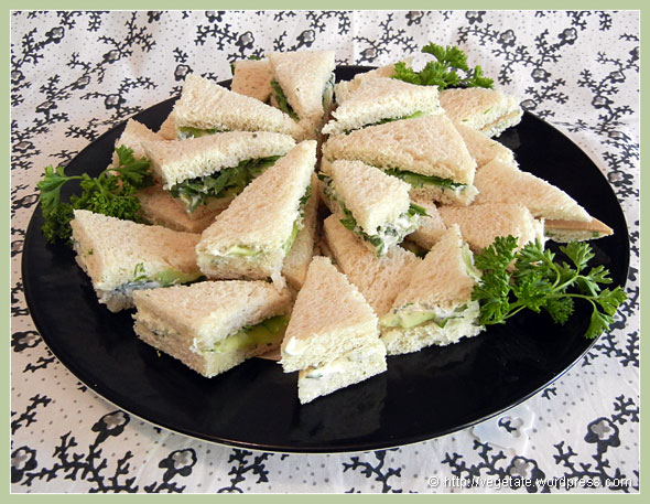 HIgh Tea: Cucumber & Cream Cheese Sandwiches - From Vegetate, Vegan Cooking & Food Blog