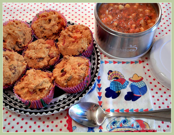 South American Chili w/Bak'n, Cheeze, & Roasted Pepper Corn Muffins ~ From Vegetate, Vegan Cooking & Food Blog.