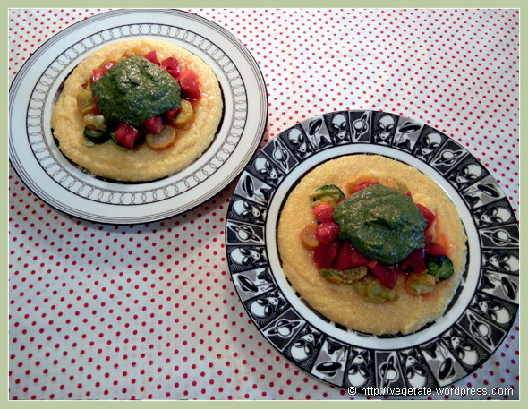 Velvety Grits w/Sautéed Summer Squash, Heirloom Tomatoes, & Parsley-Walnut Pesto ~ From Vegetate, Vegan Cooking & Food Blog