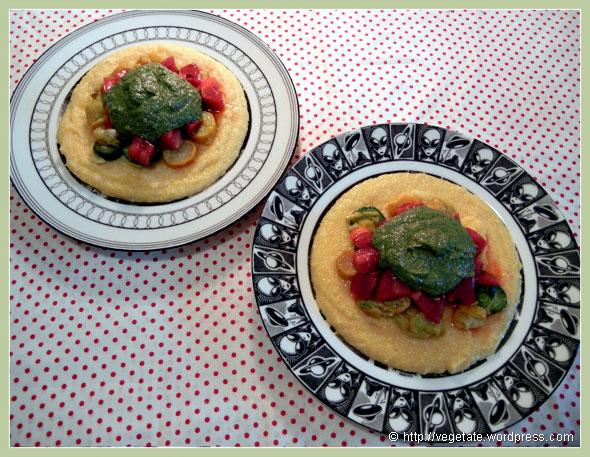 Velvety Grits w/Sautéed Summer Squash, Heirloom Tomatoes, & Parsley-Walnut Pesto ~ From Vegetate, Vegan Cooking & Food Blog