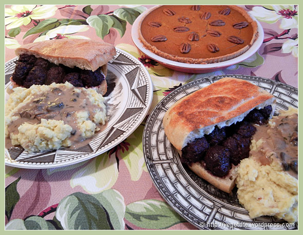 Blueberry-Balsamic Meatball Sandwiches w/Mashers, Mushroom Gravy & Pumpkin Pie ~ From Vegetate, Vegan Cooking & Food Blog