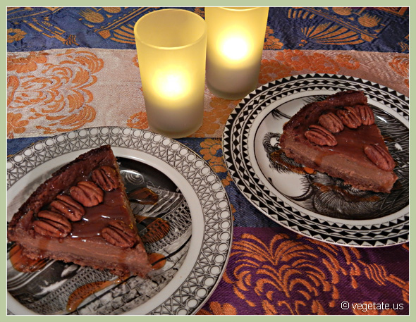 Oven-Roasted Banana Rum Cheesecake w/Spiced Pecan Crust & Maple Rum Sauce ~ From Vegetate, Vegan Cooking & Food Blog