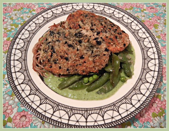 Nori & Sesame Crusted Seitan w/Gingered Sugar Snap Peas, Soba Noodles, & Edamame-Mint Sauce ~ From Vegetate, Vegan Cooking & Food Blog