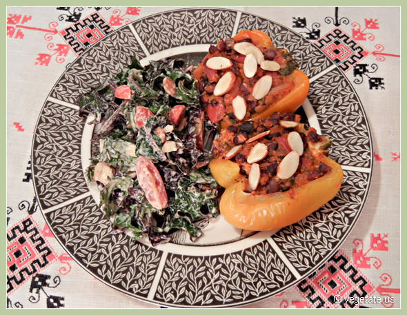 Quinoa & Currant-Stuffed Bell Peppers w/Raw Kale Salad w/Creamy Chipotle Dressing ~ From Vegetate, Vegan Cooking & Food Blog