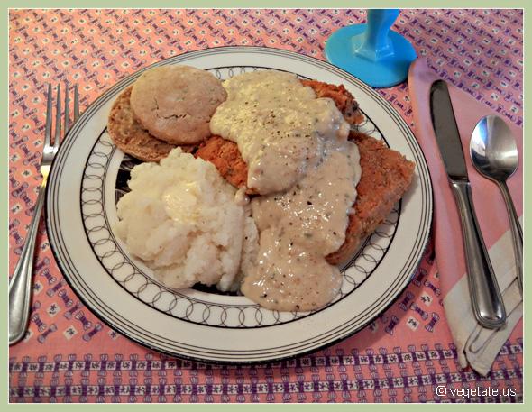 Country-Fried Tempeh Steak w/Buttermilk Biscuits & Soy Milk Gravy ~ From Vegetate, Vegan Cooking & Food Blog