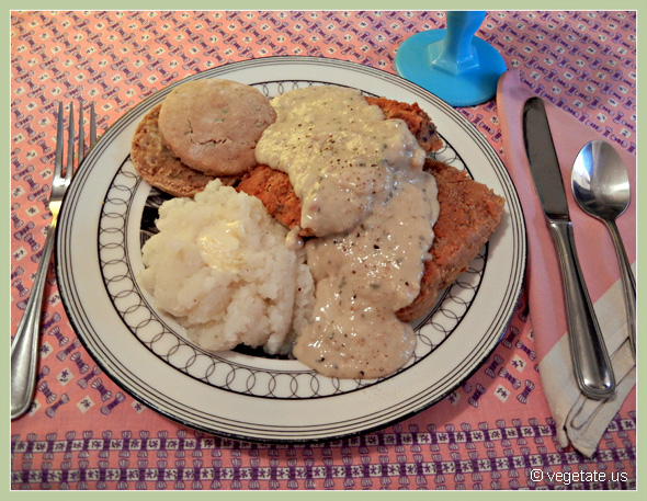 Country-Fried Tempeh Steak w/Buttermilk Biscuits & Soy Milk Gravy ~ From Vegetate, Vegan Cooking & Food Blog