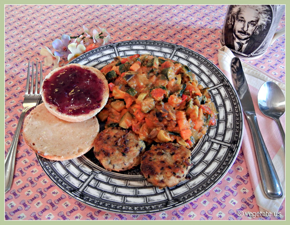 Veggie Breakfast Scramble w/Tempeh Sausage Patties ~ From Vegetate, Vegan Cooking & Food Blog