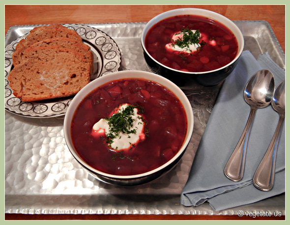 """Seeing Red"" Borscht & Whole Wheat Beer Bread ~ From Vegetate, Vegan Cooking & Food Blog"