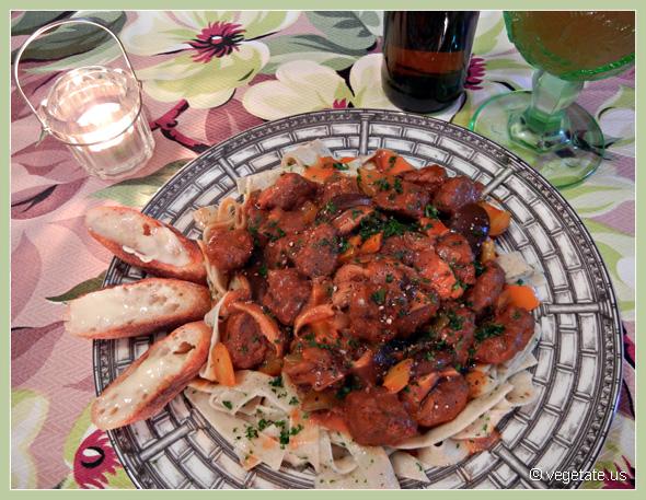 Beer-Simmered Seitan Stroganoff w/cracked Pepper ~ From Vegetate, Vegan Cooking & Food Blog