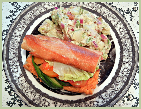 The MVP Avocado Sandwich w/Classic Deli Potato Salad ~ From Vegetate, Vegan Cooking & Food Blog