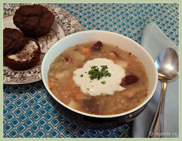Sauerkraut Mushroom Soup (ShChi) & Coriander Rye Muffins ~ From Vegetate, Vegan Cooking & Food Blog