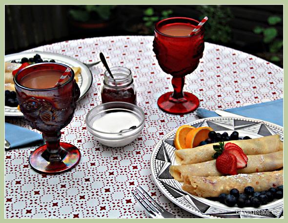Cream Cheese & Raspberry Crepes