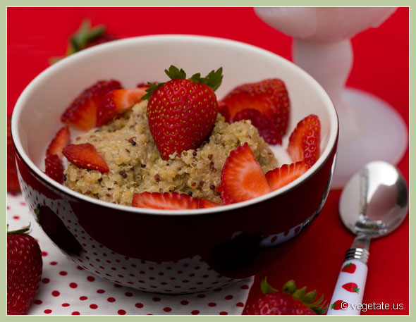 Strawberry and Cream Quinoa Porridge ~ From Vegetate, Vegan Cooking & Food Blog