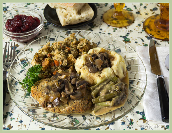 Faux Turkey with Corn-Sage Stuffing, Green Bean Casserole, Mashed Potatoes, Mushroom Gravy, and Cranberry Sauce ~ From Vegetate, Vegan Cooking and Food Blog